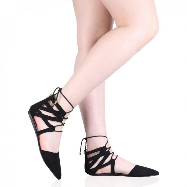 9da02d14626 Pointed Toe Black Flat lace up Stylish Flat sole sandal for Girls and Women