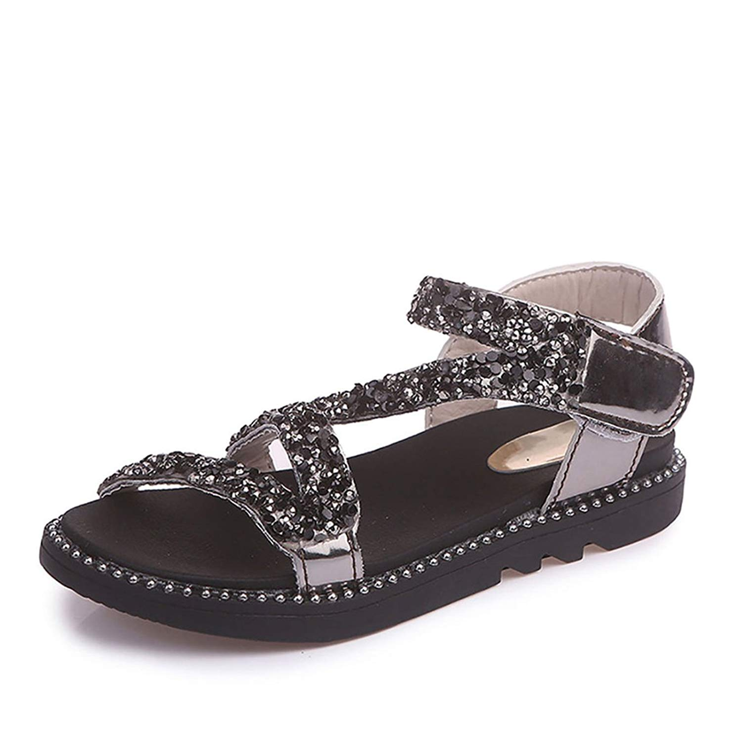 Girls Sandals,YIBLBOX Kids Toddlers Glitter Ankle Strap Summer Flat Beach Shoes