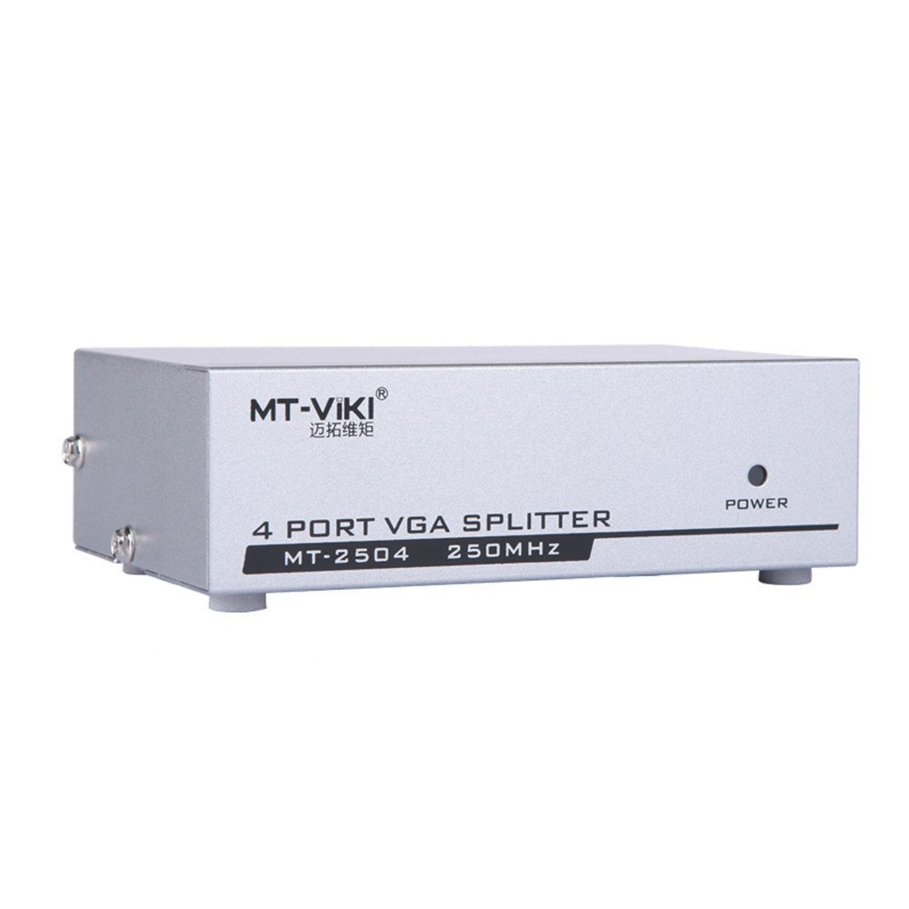 Eazy2hD 4 Port VGA Splitter Box Distributor 1 Input 4 Output Sharing 1 to 4 Selector for LCD PC TV Monitor Supporting 1920 x 1440 Bandwidth at 250MHz VS026