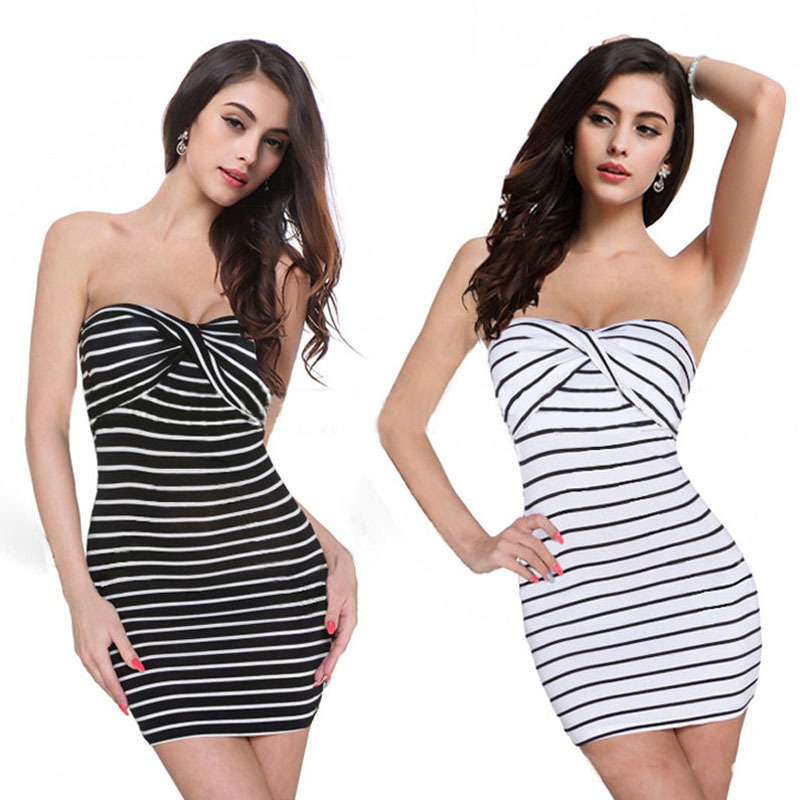 Summer Dress 2015 Summer Style Women Sexy Stripe Tee Dress Tube Top Dress Underwear Clothes Free shipping & wholesales Feida