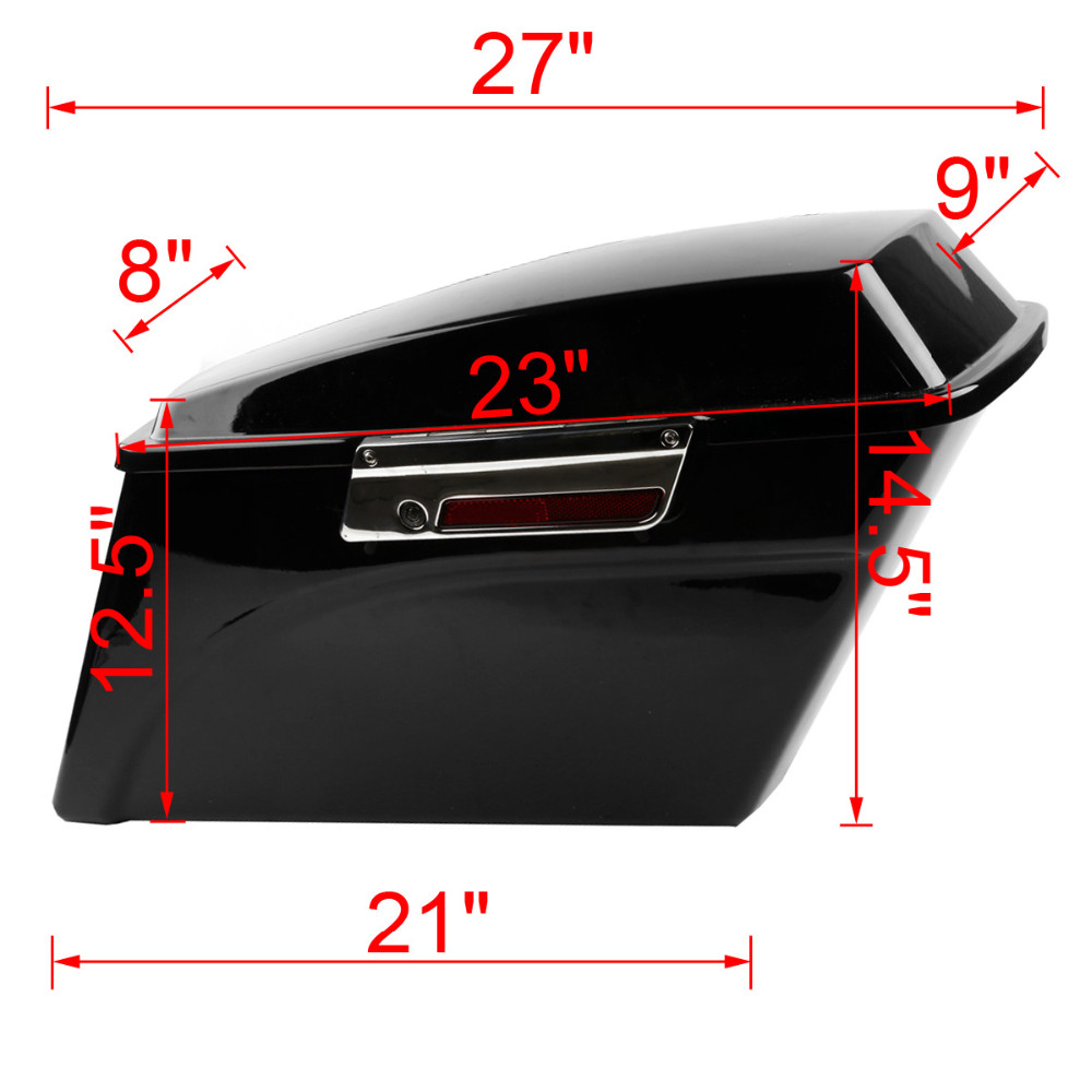 TCMT XF111508-B Vivid Black Hard Saddlebags Saddle Bag For Harley Touring FLHT FLHX FLHR 94-13