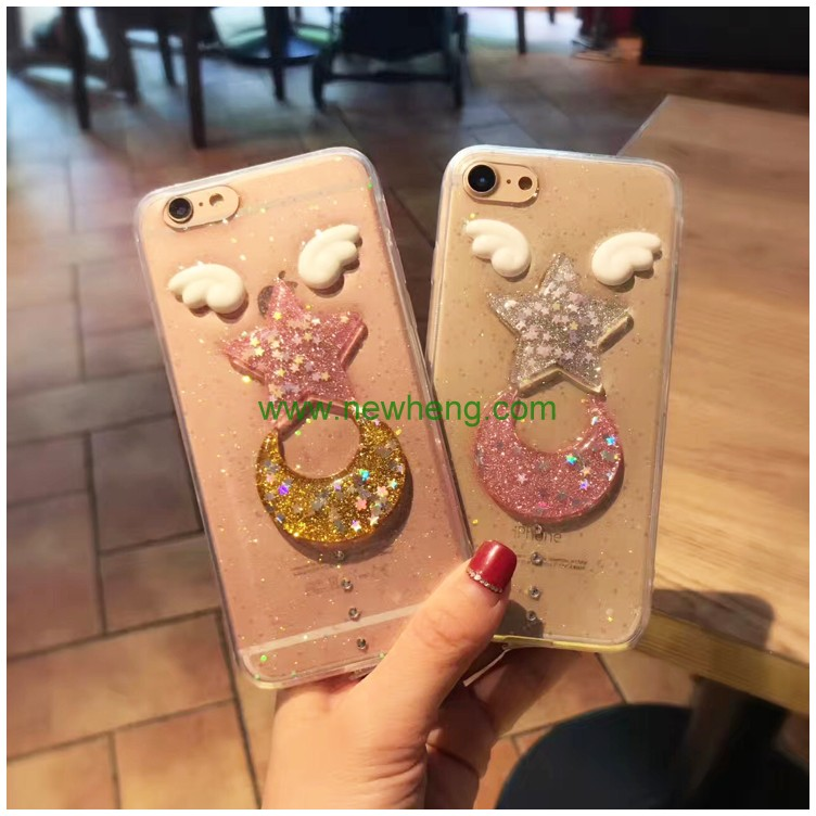 Hot Selling Glitter Powder Drop Rubber Manual Diamond Angel wings tpu case for iPhone 7