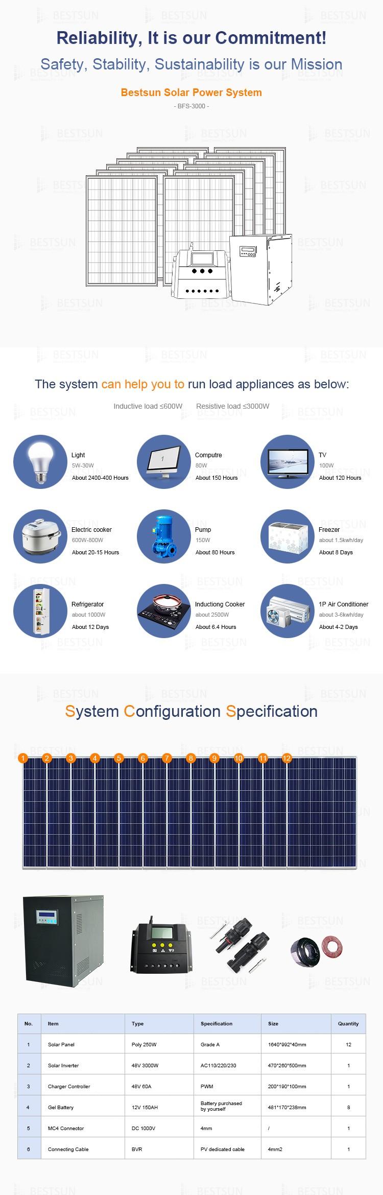 3kw kit de panneau solaire la maison de batterie solaire. Black Bedroom Furniture Sets. Home Design Ideas