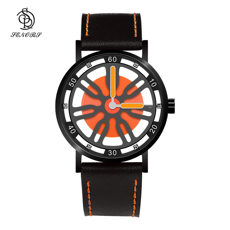 Rotating dial leather western watches