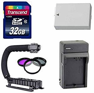 Canon DSLR Accessory Kit- With Spare LP E8 for Canon Battery + Travel Charger + Transcend 32GB High Speed SD Card + Stabilizing Scorpion Grip + 3 Piece Filter Kit- For Canon T3i & T5i