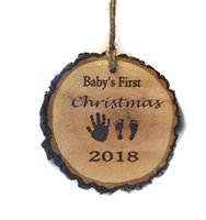 Customized baby first christmas wood slice ornament