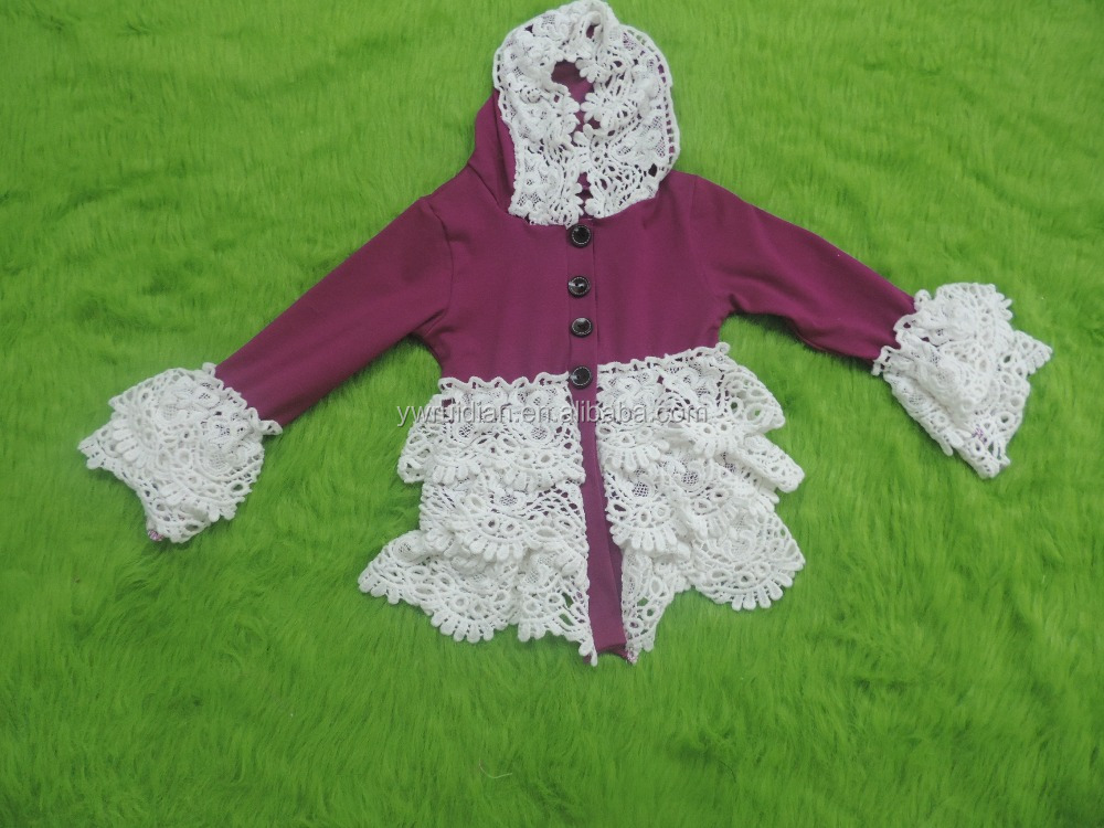 persnickety boutique little girls amaranth Hoodies cotton jacket with white lace ruffle long sleeves bulk wholesale fall