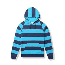 Colorblock striped thin hood sweatshirt cotton