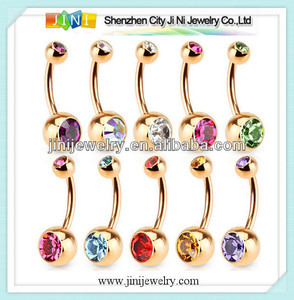 gold plated double jewelled navel piercing