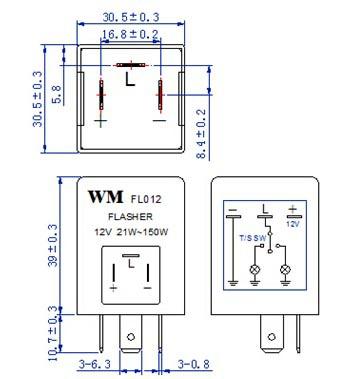 auto flasher electronics flasher 12v 24v 150w wm fl012fm with buzzer