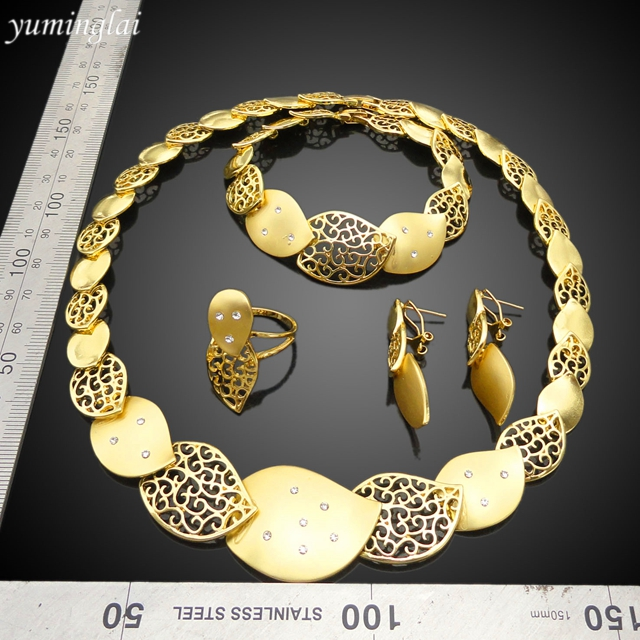 New model cheap gold plated bride jewelry sets sale for brides