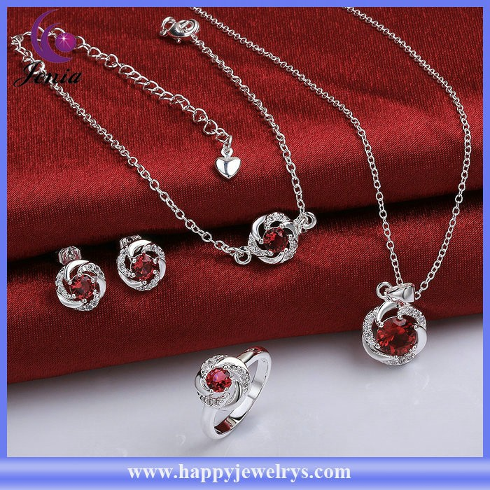 New design four pieces jewelry set red zircon 925 silver plated bridal wedding jewelry set ( SPCS783-A)