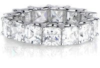 Brilliant Princess cut cubic zircon 925 sterling silver eternity band ring for women and men