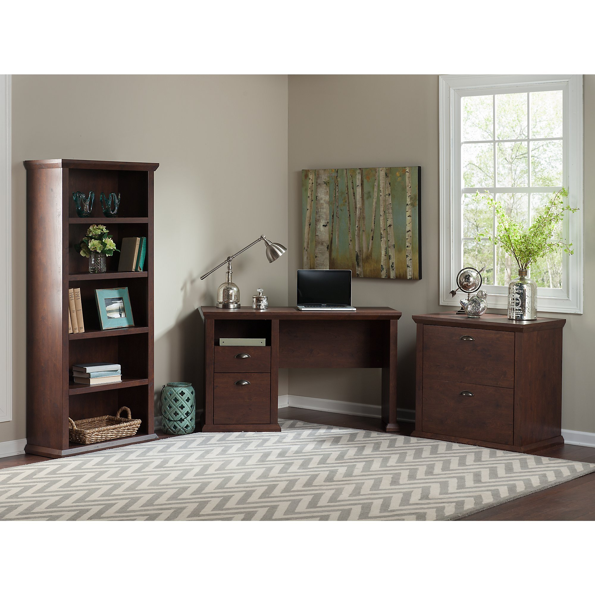 Bush Furniture Yorktown Home Office Desk with Bookcase and Lateral File Cabinet