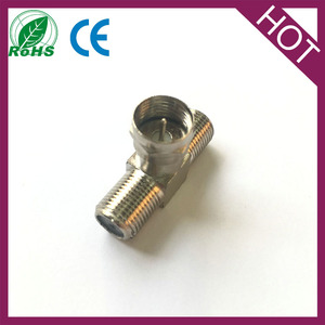 1 F Male to 2 two F Female Jack Triple T in series RF adapter connector 3 way