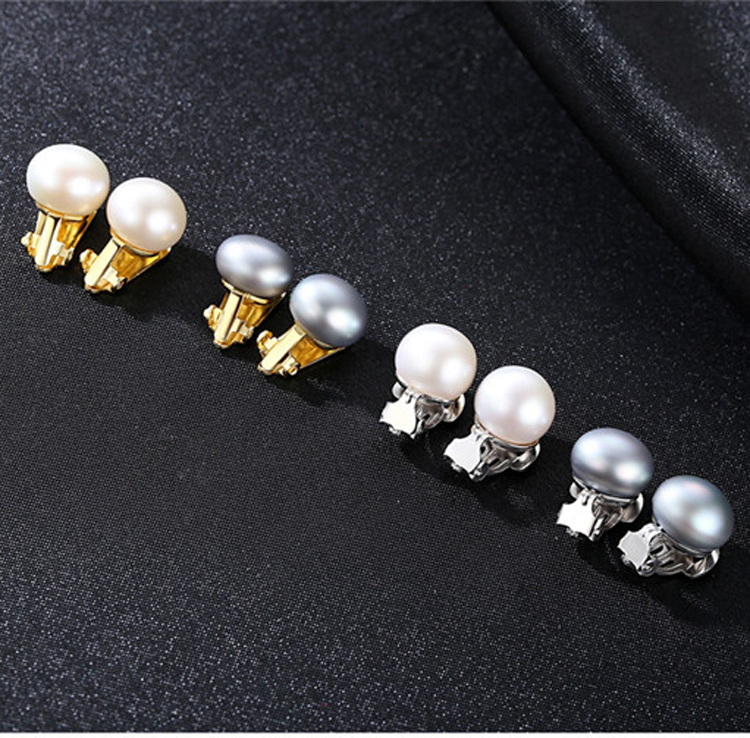 Women Fashion 925 Sterling Silver Pearl Clip On Earrings