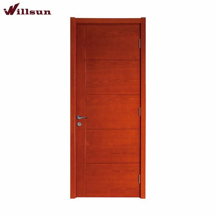 Cherry Wood Veneer Flush Horizontal Grain Interior Door Simple