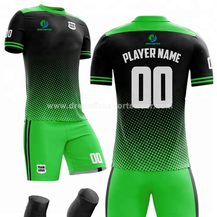 Mesh custom printed soccer jersey design patterns team logo sublimated fluorescence soccer wear jersey