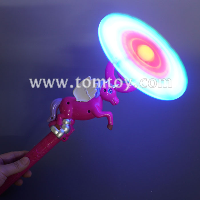 2018 New LED Flashing Light Up Windmill Unicorn Spinning Wand