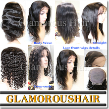 Different kinds of virgin brazilian hair half wig, top sell brazilian hair front lace wig, human hair wig