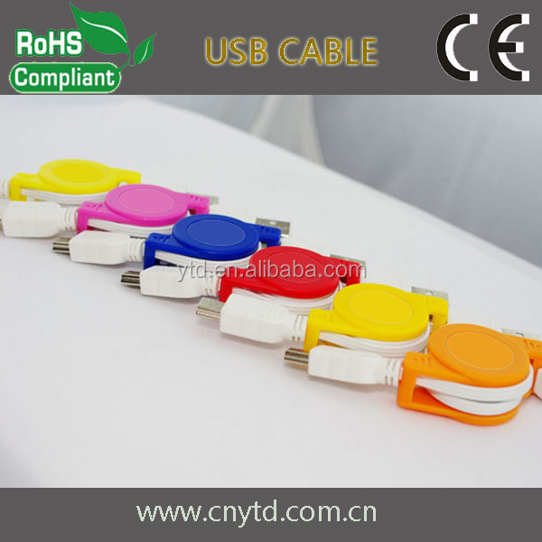 Good Quality colorful retractable usb cable stretch usb cable micro and mini