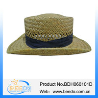 Promotional women skimmer boater straw hats to decorate