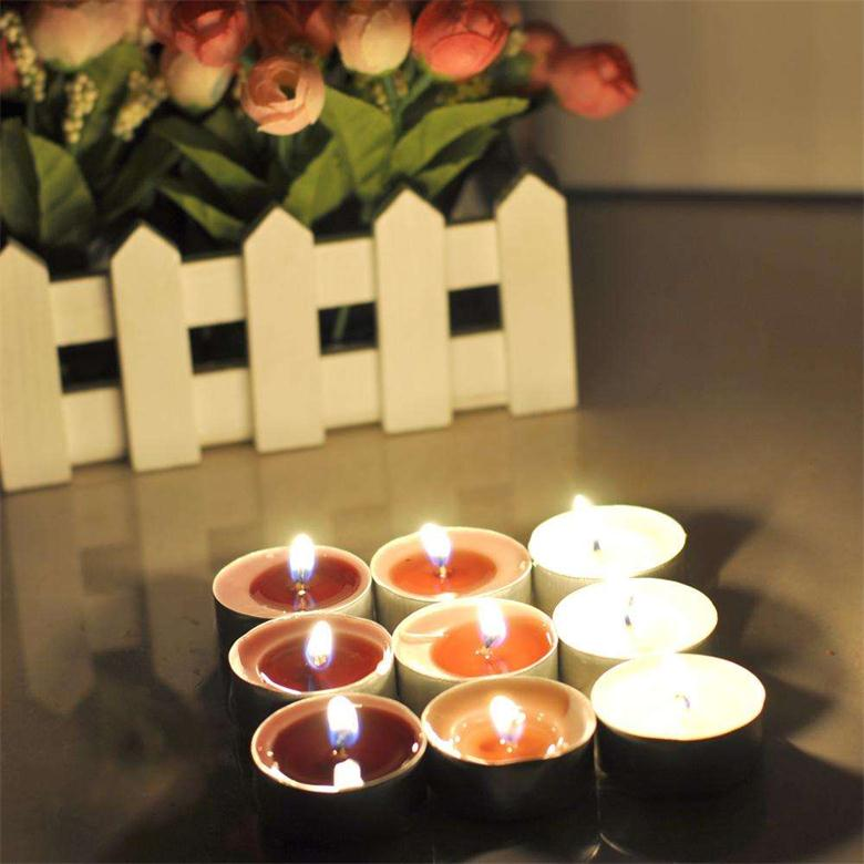Rainbow Colored Promotional Paraffin Wax Scented Tealight Candles