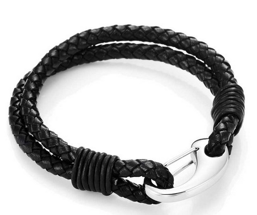 Wholesale 2016 Fashion Jewelry 316I Stainless Steel Mens Leather Bracelet Clasp