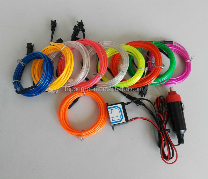 3m Kits Glowing El Wire +12v Inverter With Cigarette Lighter - Buy El Wiring Kits on