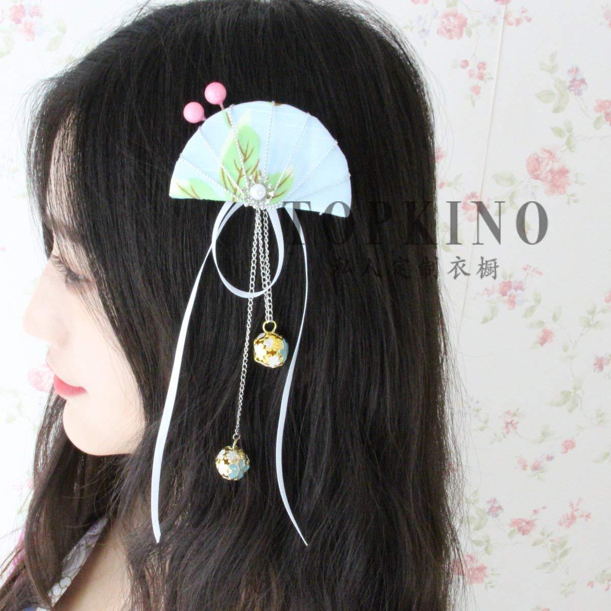 usongs Custom handmade wind bells berries tassels fan fretwork kimono flower hairpin hairpin head ornaments women girls