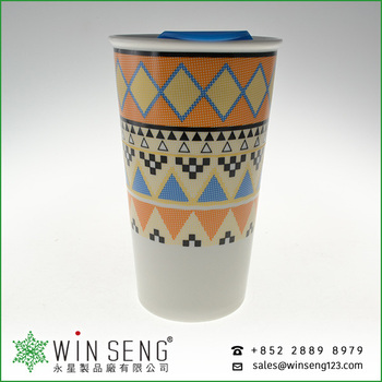 Newest creative design porcelain double wall mug with plastic lid