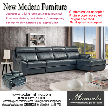 Merveilleux Modern TV Room L Shape With A Single Recliner Sofa Modern Compact Genuine  Cow Leather Sofa