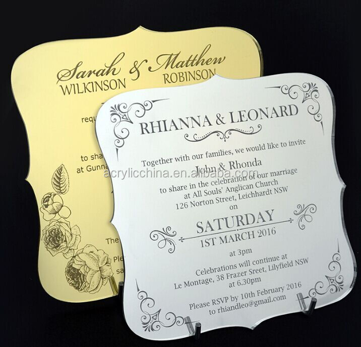 Price For Wedding Invitations: New Design Acrylic Invitation Card Acrylic Plate Acrylic