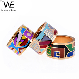 Fashion French Popular Big Enamel Gold Rings For Women Jewelry