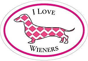 Dachshund Decal - Pink I Love Wieners Dachshund Vinyl Sticker - Dachshund Bumper Sticker -Wiener-Dog Decal - Perfect Dachshund Owner Gift - Made in the USA