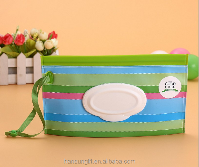 Fashion eco- Friendly EVA Reusable Travel Baby Wet Tissue Wipes Bag with zipper closure