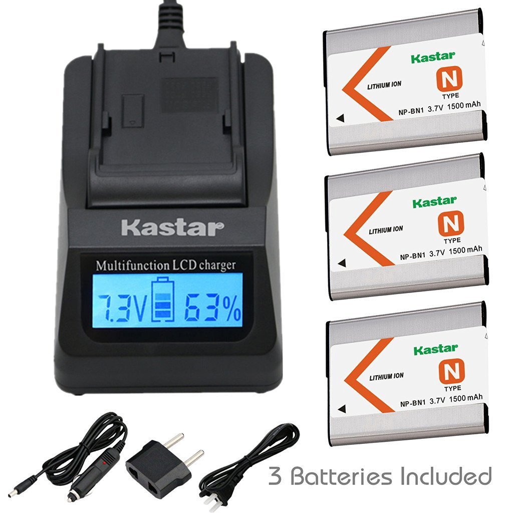 Kastar Ultra Fast Charger(3X faster) Kit and Battery (3-Pack) for NP-BN1, BC-CSN work with Sony Cyber-shot
