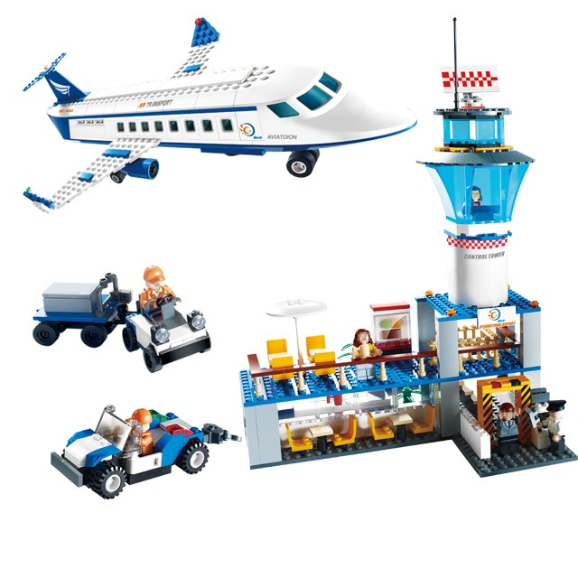 651pcs GUDI city International Airport Aviation Building Block Bricks toys model