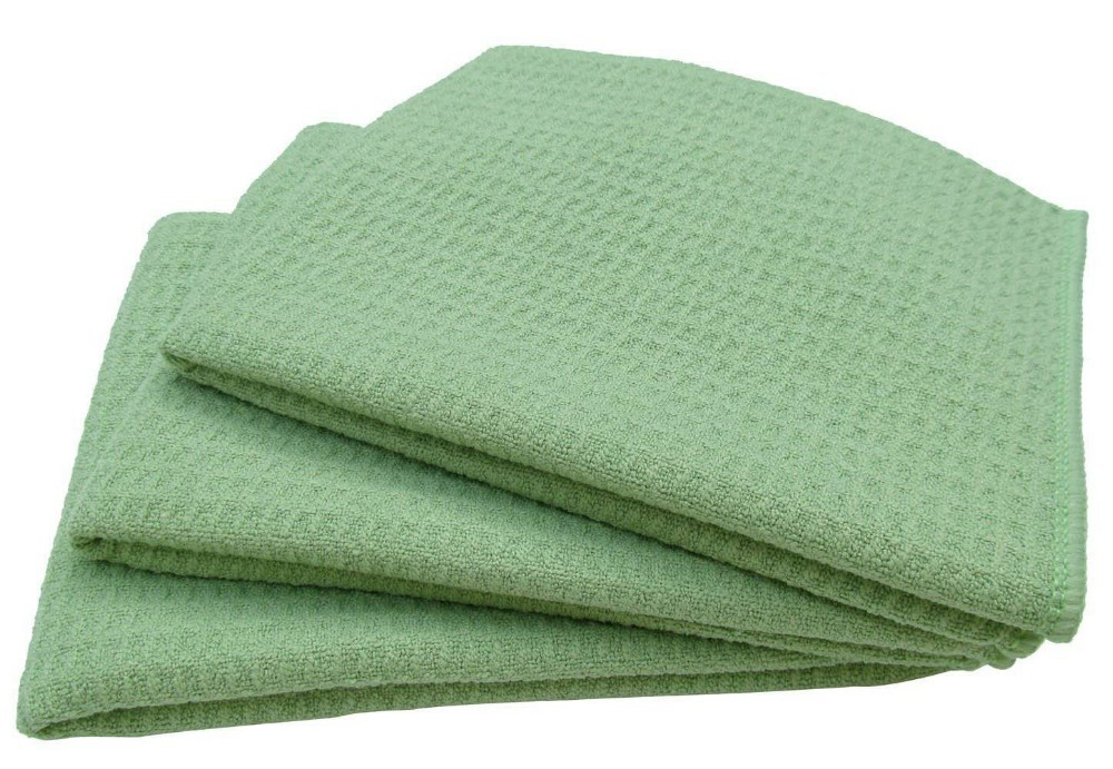 16 Inch X 24 Inch Microfiber Waffle Weave Green Dish Cloths Wholesale