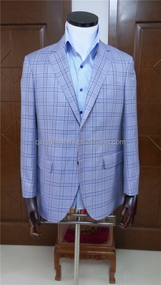 high class design tailor made to measure customized violet plaid cashmere wool block checked men's suits for sale