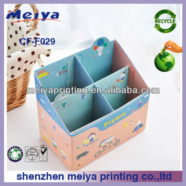 Custom 4 grid cute/lovely corrugated storage boxes,cardboard furniture,paper storage drawer from China manufacturer