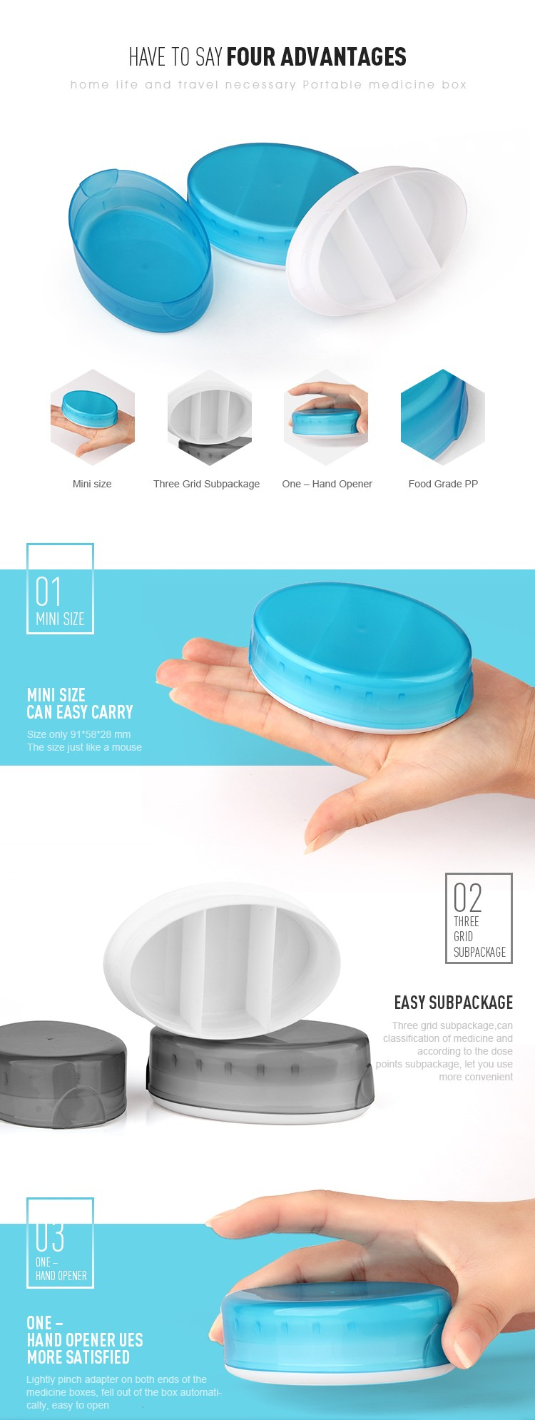 High quantity light Medicine box / supplier pill case / pill container