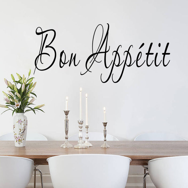 Bon Appetit Vinyl Removable French Wall Sticker Design Art Vinyl Self Adhesive Home Decor