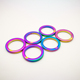 Iridescent metal O ring for handbag hooks factory customized zinc alloy bag fittings