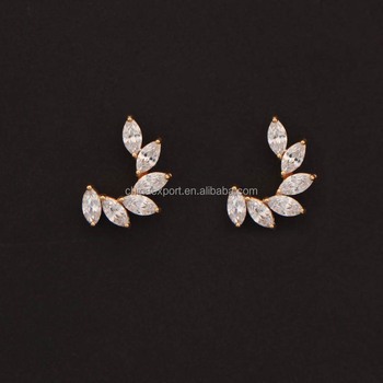 2017 Latest Gold Diamond Stud Earrings Simple Design