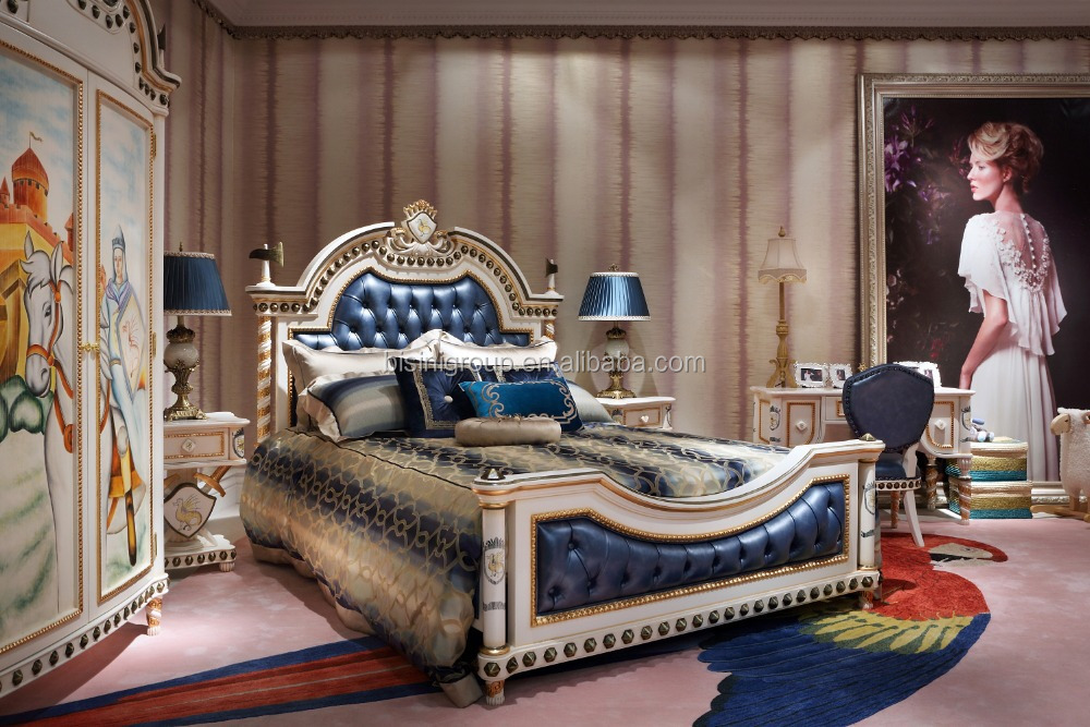 unique kids bedroom furniture. french style prince dark blue hand painting classic u0026 unique boys kids bedroom furniture bf07 w