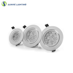 Silver and white housing adjustable downlight 3w 5w 7w 9w 12w recessed ceiling led spot light