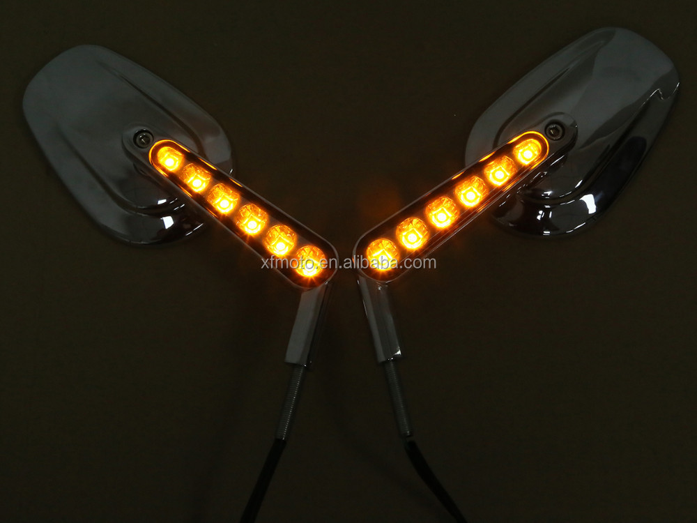 Chrome Muscle Rear View Mirrors & LED Front Turn Signals For VRSCF