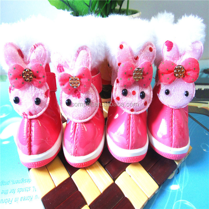 Pu Material Winter Cartoon Rabbit Pet Shoes Dog Shoes Pet Supplies