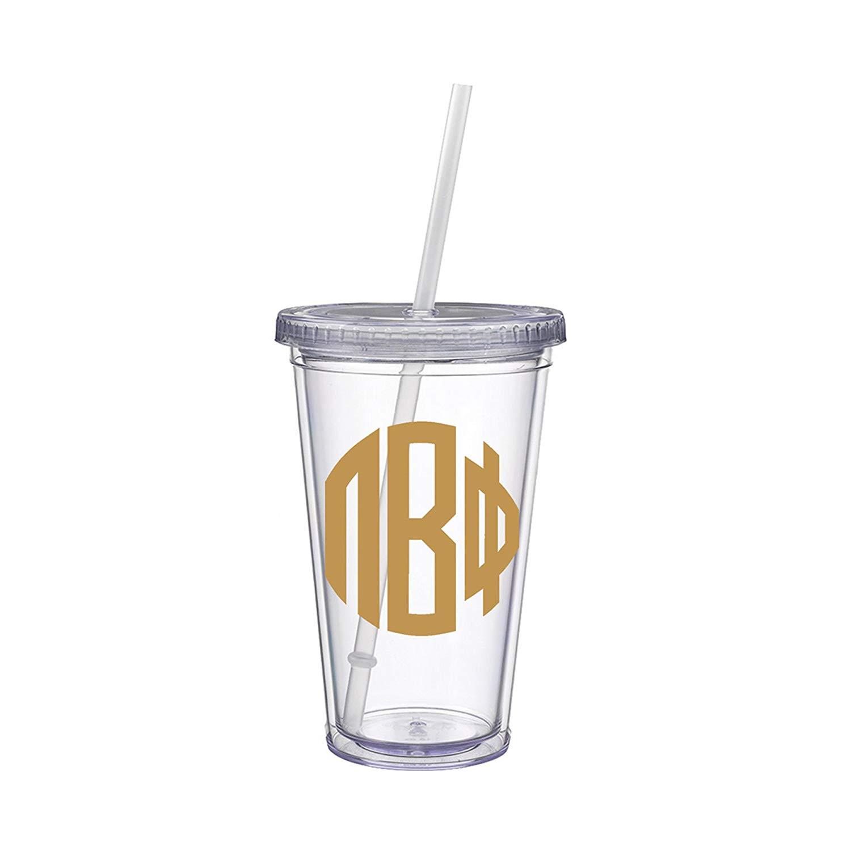 Pi Beta Phi Sorority Gold No Border Monogram Sticker Decal on Clear plastic Tumbler Greek Letter 16 oz. BPA Free Pi Phi